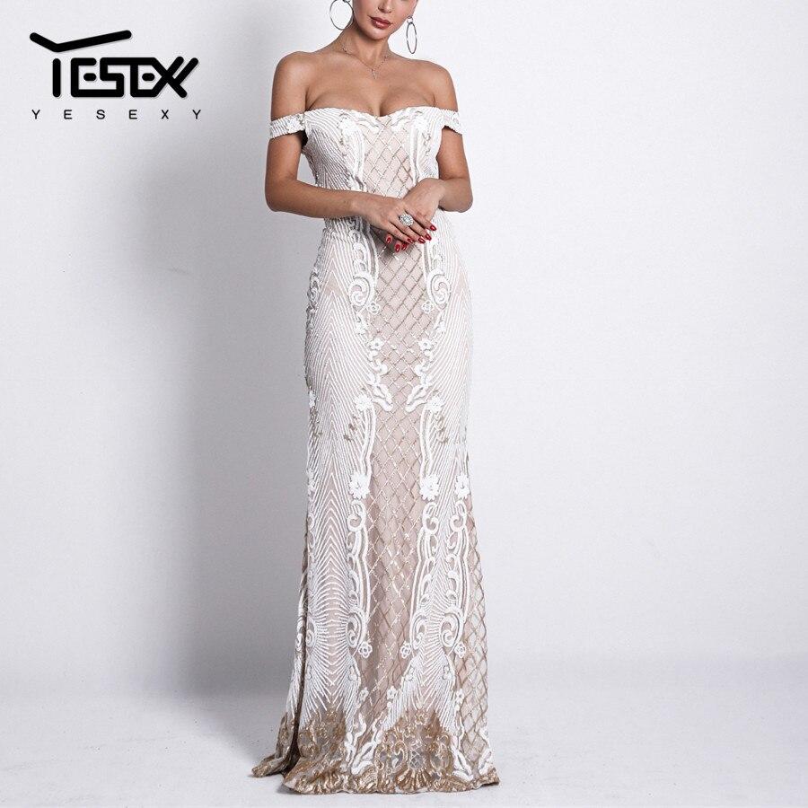 Yesexy 2019 Slash cou élégant femmes robe de soirée dos nu Patchwork fleur broderie longueur de plancher femmes Maxi robe VR18623