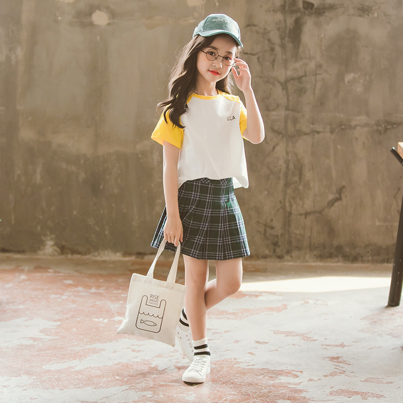 Girls Summer Suit 2018 Korean Childrens Sports Suit Children Cotton and Plaid Skirt Suit Kids T-shirt Set Toddler Set,#2807 ...