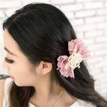 Women's Fashion  Bowknot Lace Pearl Hairpin  JW350