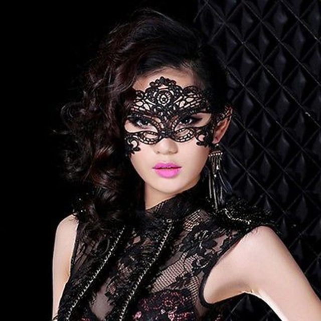 black fancy dress lace venetian mask masquerade prom
