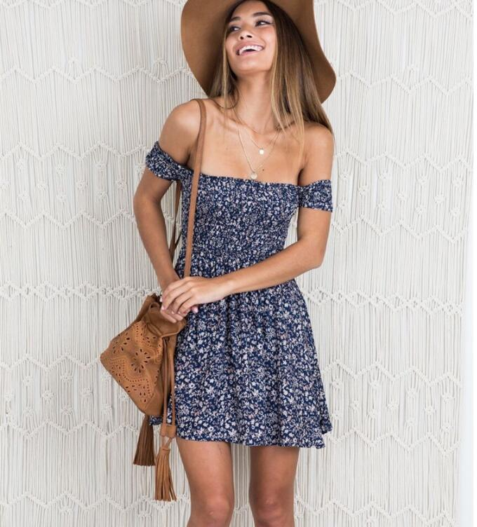 Sexy Wrap The Chest Printing Dresses Exposed Back One Word Collar Floral Dresses