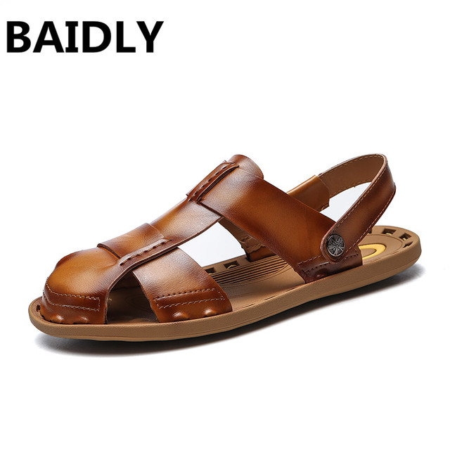 7b0207bdf0fe22 BAIDLY Genuine Leather Men Sandals Summer New Beach Male Shoes Mens  Gladiator Sandals Real Leather Sandals High Quality