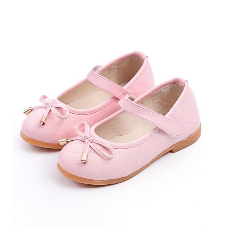 PU Leather Bow Kids Shoes For Girl Princess Party Wedding Dance Baby Girl Shoes For Children Pink Shoes Spring Summer