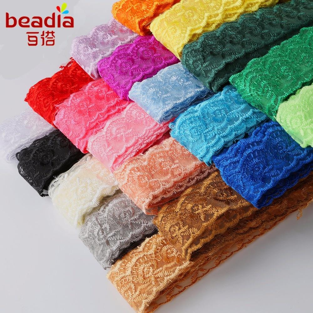 Новые 10 ярдов 20 цветов африканская кружевная ткань см 4 см ширина Сетка кружевная бейка вышитая кружевная лента DIY швейная свадебная одежда украшения
