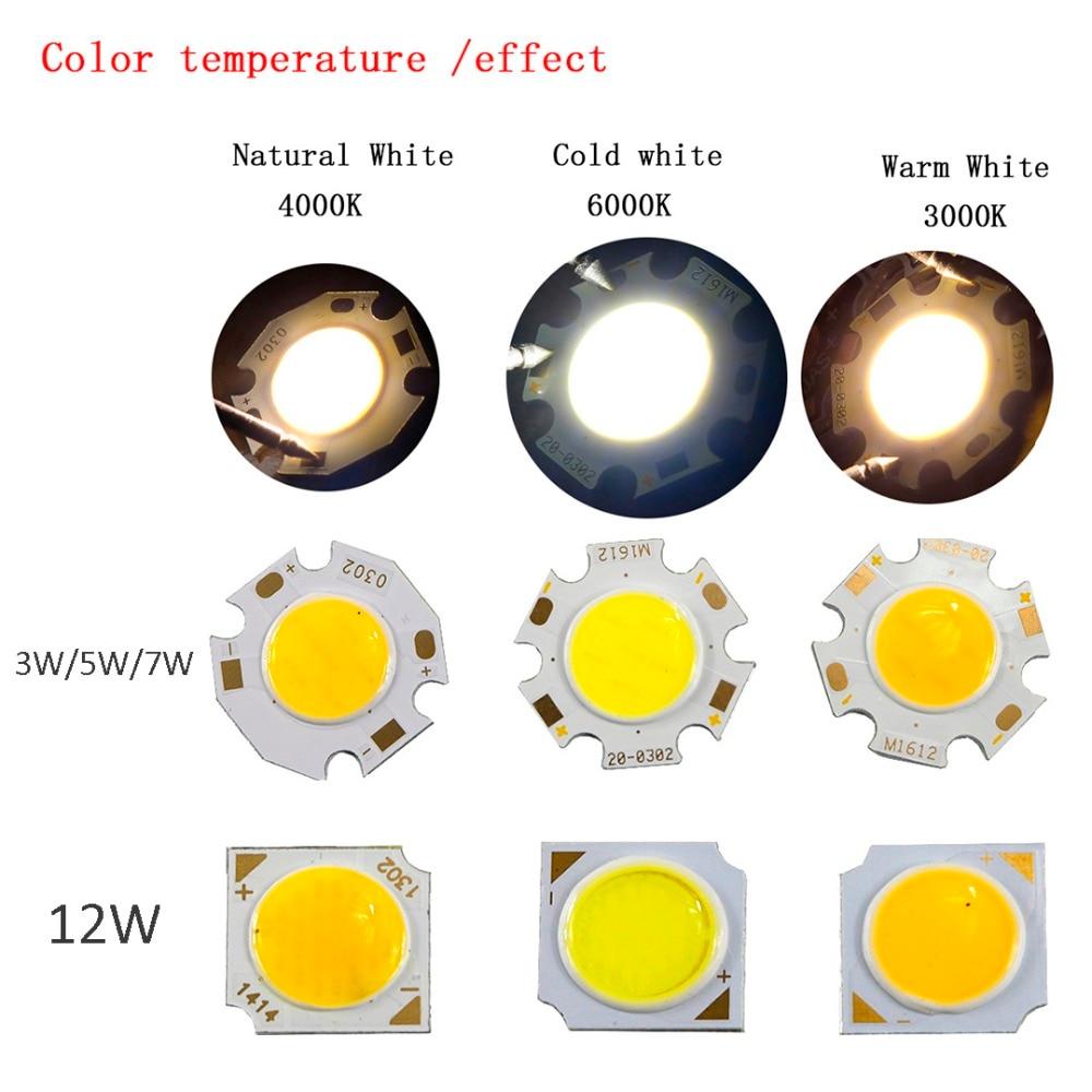 10 шт. 3 Вт 5 Вт 7 Вт 12 Вт УДАРА светодиодный лампы теплый белый/холодный белый источник света DIY Чип для автомобиля света COB светодиодный чип Д. А...