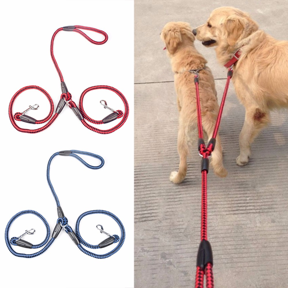 Dog Collars & Leads Strong Nylon Ribbon Double Dog Leash One Drag Braided Tangle For Walking Training Adjustable Size Pet Safety Traction Rope Carefully Selected Materials Pet Products