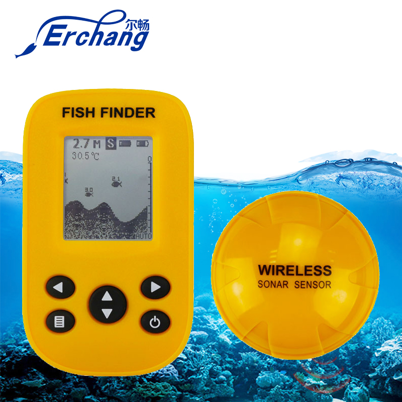 Erchang Tragbare Wireless Fisch Finder 36 M tiefe Fishfinder Sonar Angeln Alarm Echolot Ozean Fluss See Meer Angeln echolot