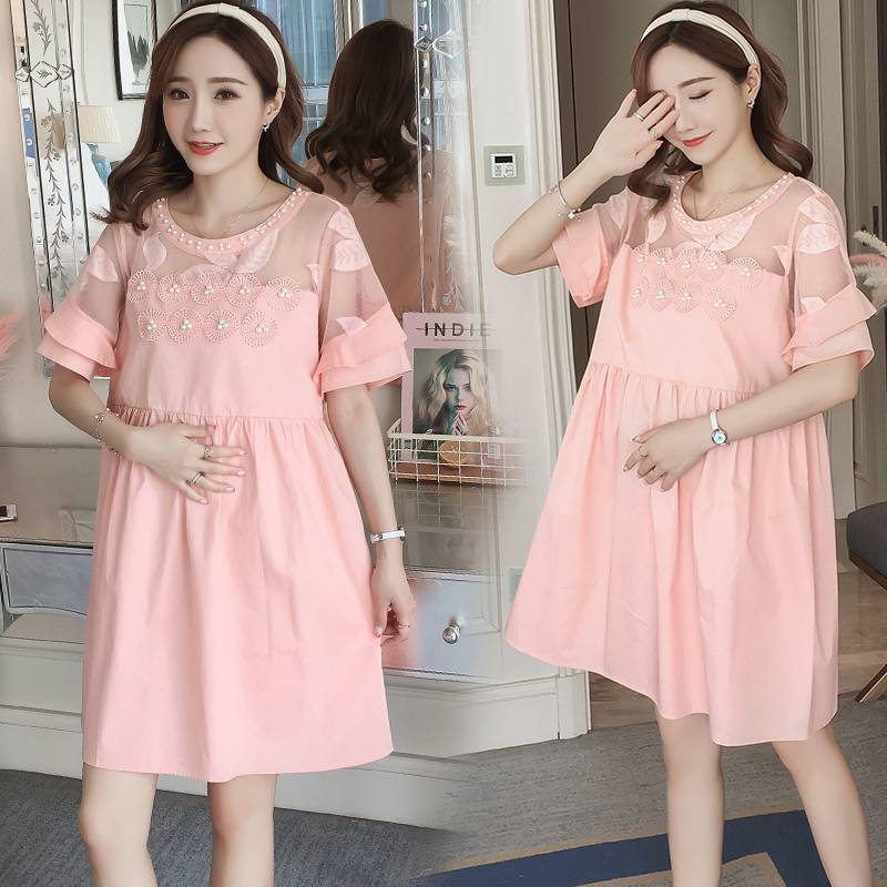 Spring and summer maternity clothes cotton beaded high waist dress in the long section of the Korean womens dress