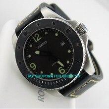 44 мм Парнис Сапфировое стекло Автоматические Self-Wind механические Часы Мужские Часы Высокого качества часы Оптом