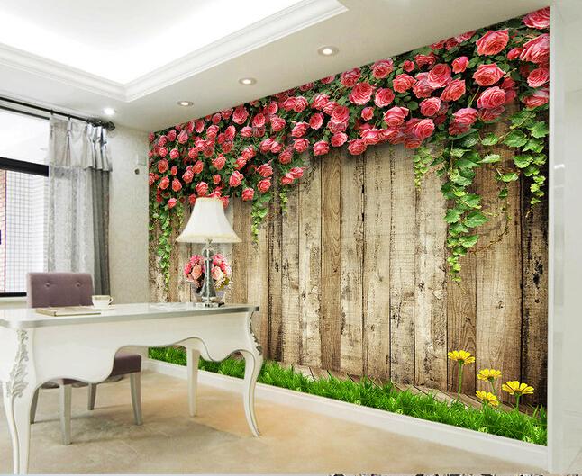 Benutzerdefinierte Holz Tapete Rosa Rose Wandbilder Fr Wohnzimmer Schlafzimmer Hochzeit Hintergrund Wand Wasserdicht Papel De