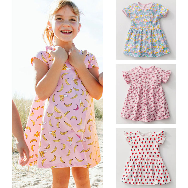 New 2018 Brand Quality 100% Cotton Baby Girls Dresses Summer Kids Clothing Children Clothes Short Sleeve Casual Dress Baby Girls