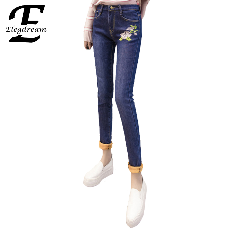 Elegdream Plus Size Women Embroidered Velvet Pencil Jeans Trousers 2017 Winter Fashion Female Warm Jean Capris Ladies Denim Pant