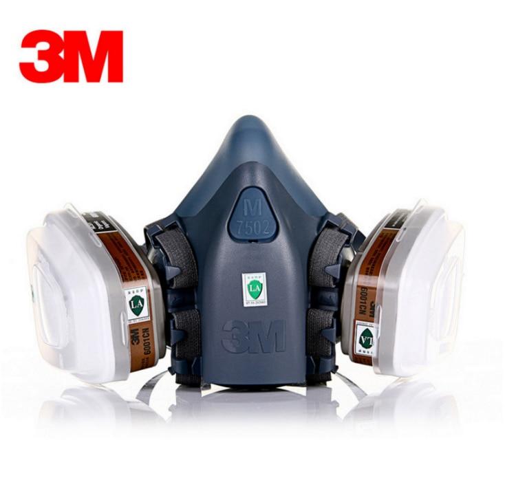 3 m 7502 Demi-Masque Respirateur Peinture Pulvérisation Masque À Gaz De Sécurité Travail Filtre Masque Anti-Poussière