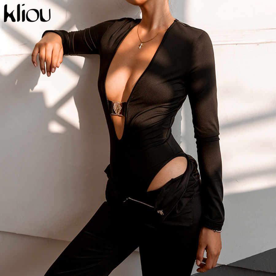 Kliou Новый женский летний эластичный однотонный тонкий сексуальный облегающий модный боди комбинезон с глубоким V-образным декольте с длинным рукавом