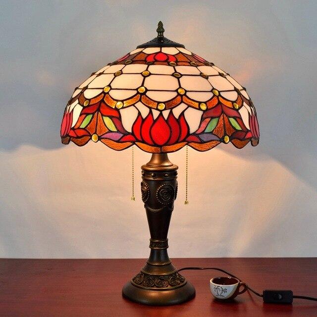 Paralumi In Vetro Per Lampade Da Tavolo.16 Pollice Barocco Paralume In Vetro Colorato Tiffany Lampada Da
