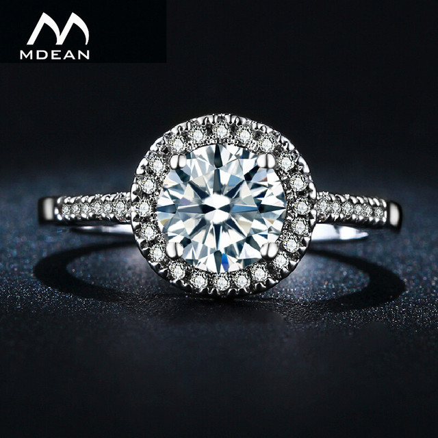 MDEAN Wedding Rings for Women Engagement Bague White Gold Color