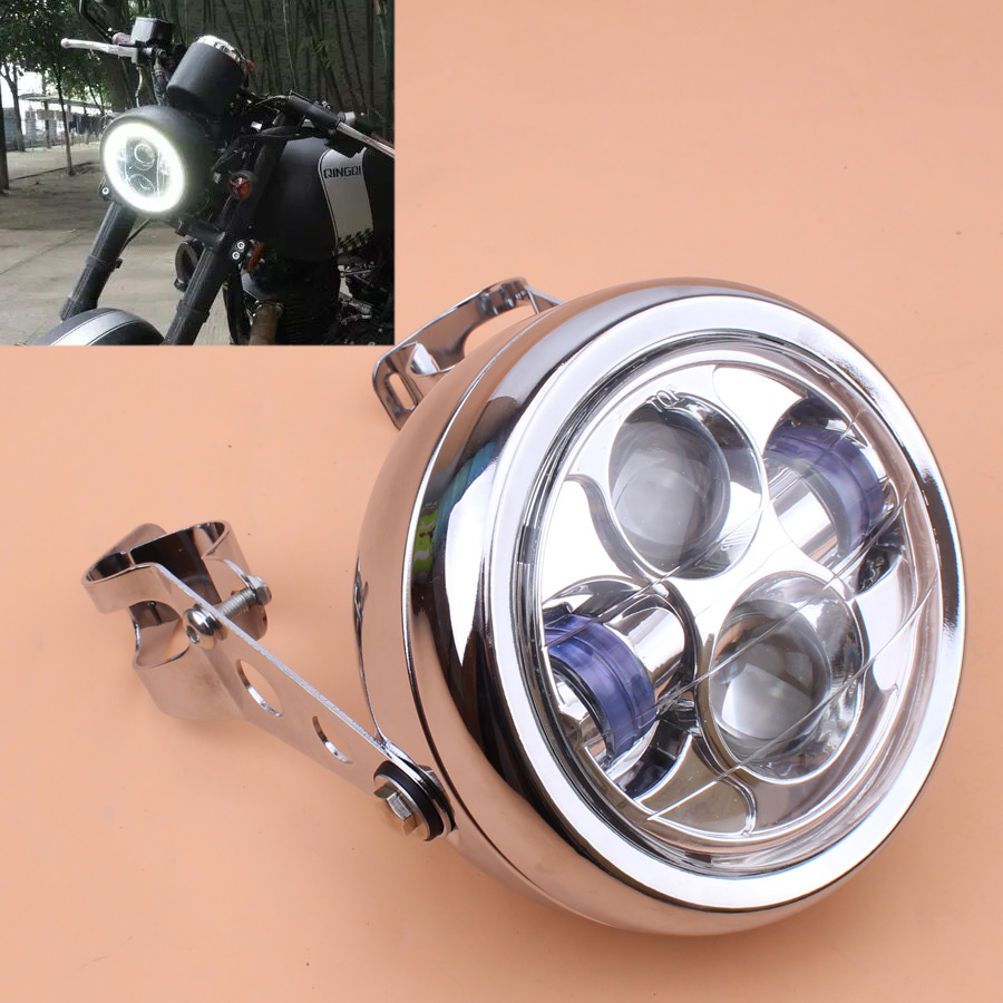 Universal Vintage Motorcycle Headlight Chrome Metal Retro LED 6 3inch Headlights with 35-43mm Fork Tubes Bracket For Harley Honda