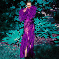 Elegant Temperament Lace Full Flare Sleeve Purple Dress Sexy Women Night Club O Neck Body con Hollow Out Falbala Party Dresses