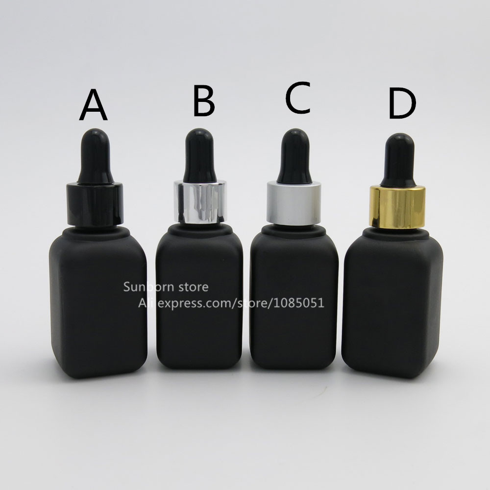 100 pcs lot 30ml Square black glass cosmetic eliquid dropper bottle