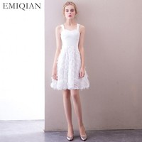 2018 New Arrival Reception Dress White Short Wedding Dress Mini Brides Bridal Gown Vestido De Noiva