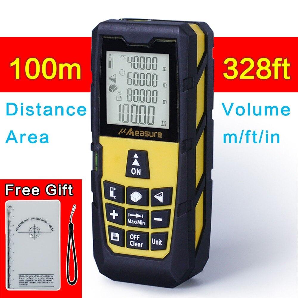 Yellow 328ft (100m) Laser Distance Meter Digital Laser rangefinder Digital Laser Tape Measure Area/volume M/Ft/in Tool nf 2650 digital laser distance meter handheld laser rangefinder tape measure distance area volume in level tool lofting function