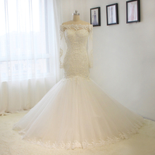 ccd7ee1a7cf 2017 new country western Bridal Dress Boat Neck Long Sleeve Lace Applique  Pearls Mermaid Wedding Dress