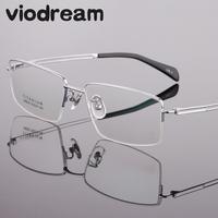 Viodream Ultra Light Fashion Business Pure Titanium Spectacle Frame Half Prescription Myopia Glasses Frames Man Oculos De Grau