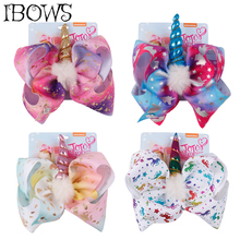 8 Large Rainbow Unicorn Hair Bow White Pompom Horn Clips For Girls Fashion Party DIY Accessories With Card