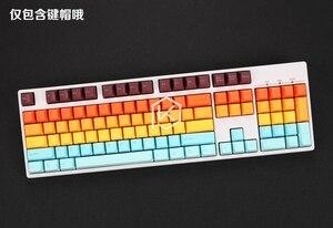 Image 2 - Taihao teclas de doble disparo pbt para juegos, Teclado mecánico para juegos diy, color de miami diablo, negro, naranja, cian, arco iris, gris claro