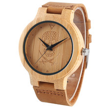 Men Watch Pirate Ghost Carving Bamboo Natural Wood Genuine Leather Straps Novelty Women's Wrist-watch Gift relogio masculino