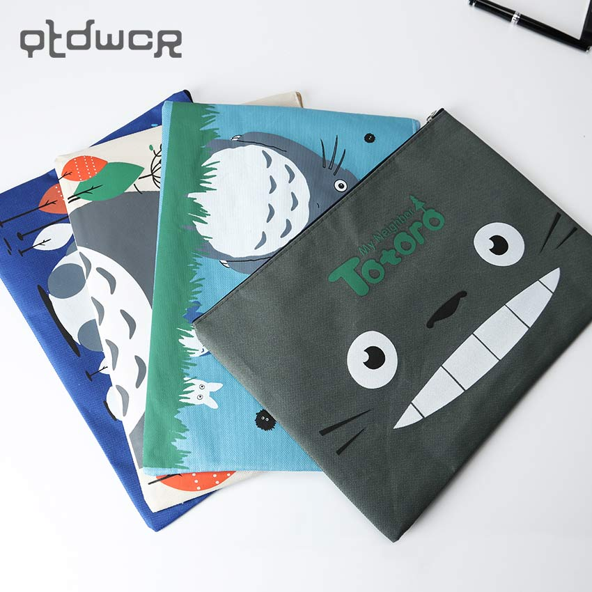 1PC Cute Kawaii Totoro A4 Zipper Document Bag Business Briefcase Storage File Folder For Papers Stationery Supplies Student Gift