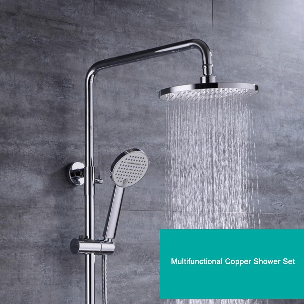 Full Copper Chrome Plating Rain Shower Set Multifunctional Hot And Cold Shower Bath Set