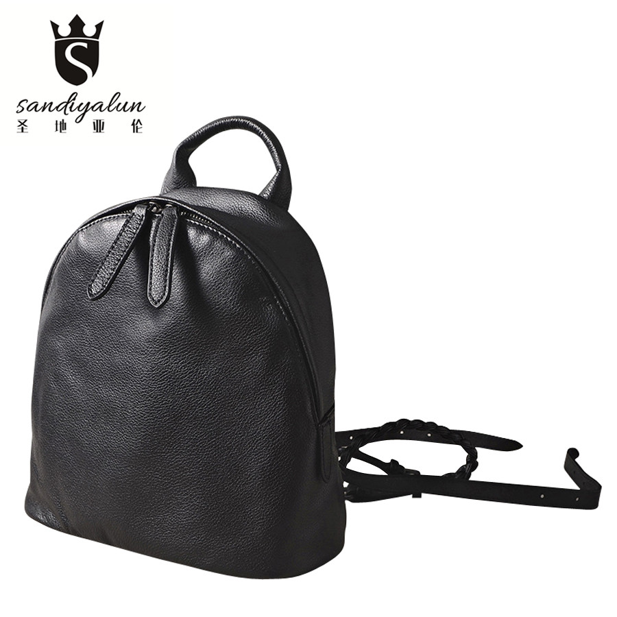 Vintage Backpack Women Genuine Leather Bag Women Bag Cow Leather Women Backpack Mochila Feminina School Bags for Teenagers купить