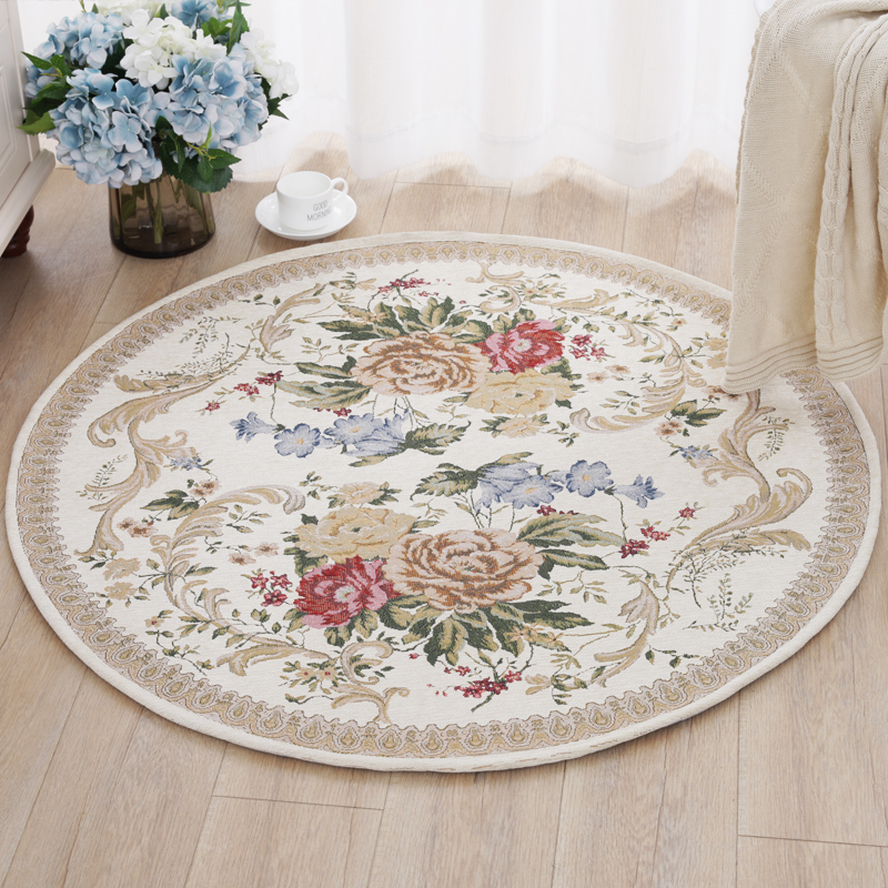 Europe/America Countryside Round Carpets for Living Room Pastoral Bedroom Floor Mat Home Hallway Doormat Computer Chair Area Rug|round carpet|carpets for living room|carpet for living - title=