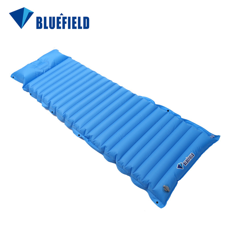 Bluefield Oudtoor Inflating Air Pad Sleeping Mat Hiking Mattress with Pillow For Camping Hiking Backpacking Travelling