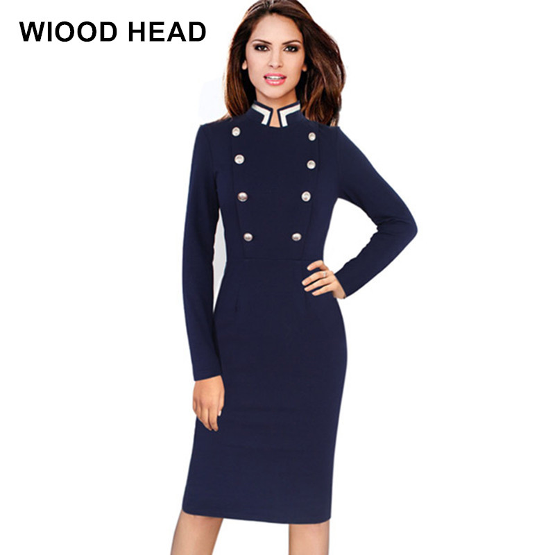 WIOOD HEAD Navy Blue Work Dresses Winter Office Work Wear