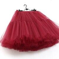 Hot Sale 5 Layer Knee Length Tutu Tulle Skirt Vintage Skirts Womens Lolita Petticoat Falda Mujer