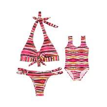 2019 Mum and Me Swimsuit Children One Piece Monokini Striped Girl Bathing Suit Women Bikini Beachwear Parent-child Swimwear
