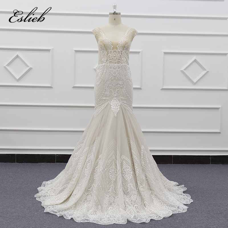 Wedding Gowns For Less: Eslieb Elegant Illusion Mermaid Wedding Dresses Cap