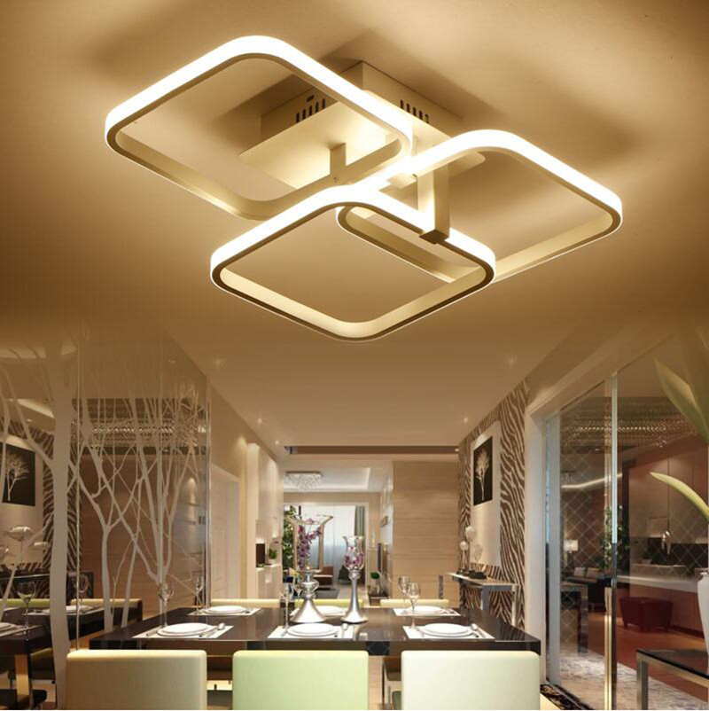 Square Rings LED Ceiling Lights For Living Room Bedroom AC85-265V Modern Led Ceiling Lamp Fixtures lampara techo square modern led ceiling lights for living room bedroom ac85 265v white black home deco ceiling lamp fixtures free shipping