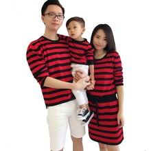 Famille Correspondant Tenues 2016 Automne Printemps Chandail Famille Look Correspondant Vêtements Mère Fille Robes Père Fils T chemises
