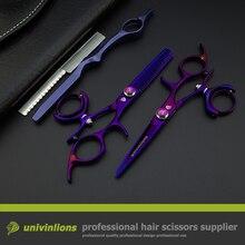 5.5″ hot titanium purple flying shears swivel thumb shears rotary hair scissors hairdressing fly scissors hairdresser supplies