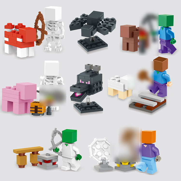 2015 NEW 8pcs/set juguetes <font><b>minecraft</b></font> <font><b>steve</b></font> skull spiderman blocks Minifigures <font><b>action</b></font> <font><b>figure</b></font> SET toys Bricks Compatible