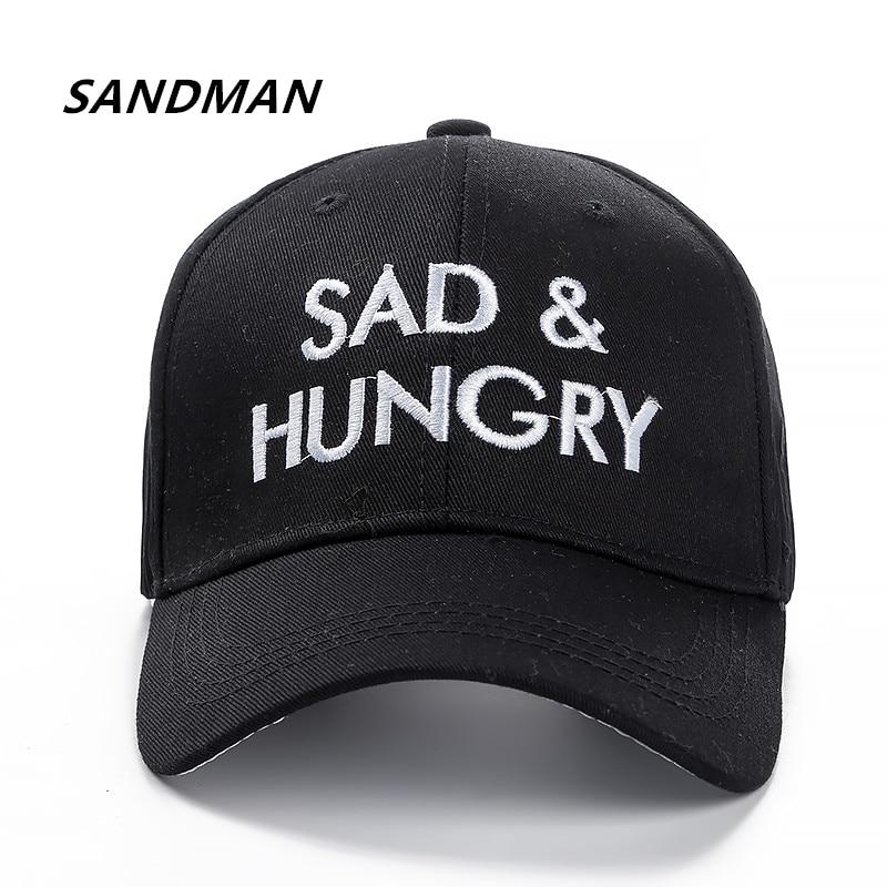 SANDMAN High Quality Brand Letter SAD HUNGRY Snapback   Cap   Cotton   Baseball     Cap   For Adult Men Women Hip Hop Dad Hat Bone Garros