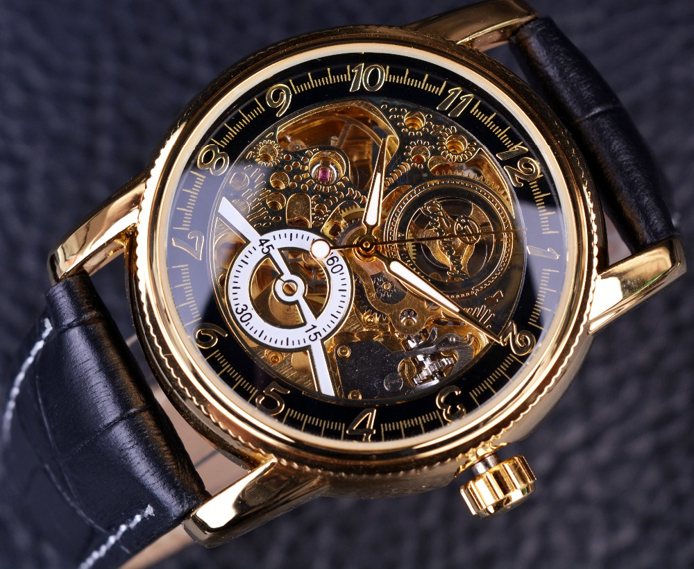 design product case image engraving skeleton gold logo mechanical watches black products leather hollow