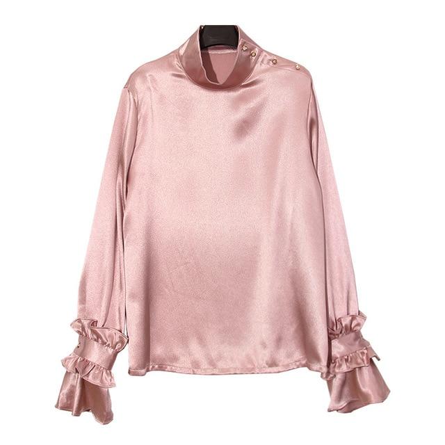 741c5c3334 US $28.0 |Falso camicia di seta della camicetta oversize flare manica donna  primavera autunno 2017 nuova rosa blu nero grigio colore in Falso camicia  ...