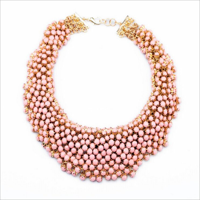 2018 women multilayers sterling necklace pink crystal top quality pearl necklace sweater chain jewelery brand chain necklace fashionable women s bead designed ellipse sweater chain necklace
