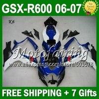 Синий белый 7 подарки + капота для SUZUKI 06 07 K6 GSXR600 Горячая L #3641 голубого цвета, с бесплатной доставкой белые GSXR 600 GSX R600 2006 2007 GSXR 600 Обтекатели Набо