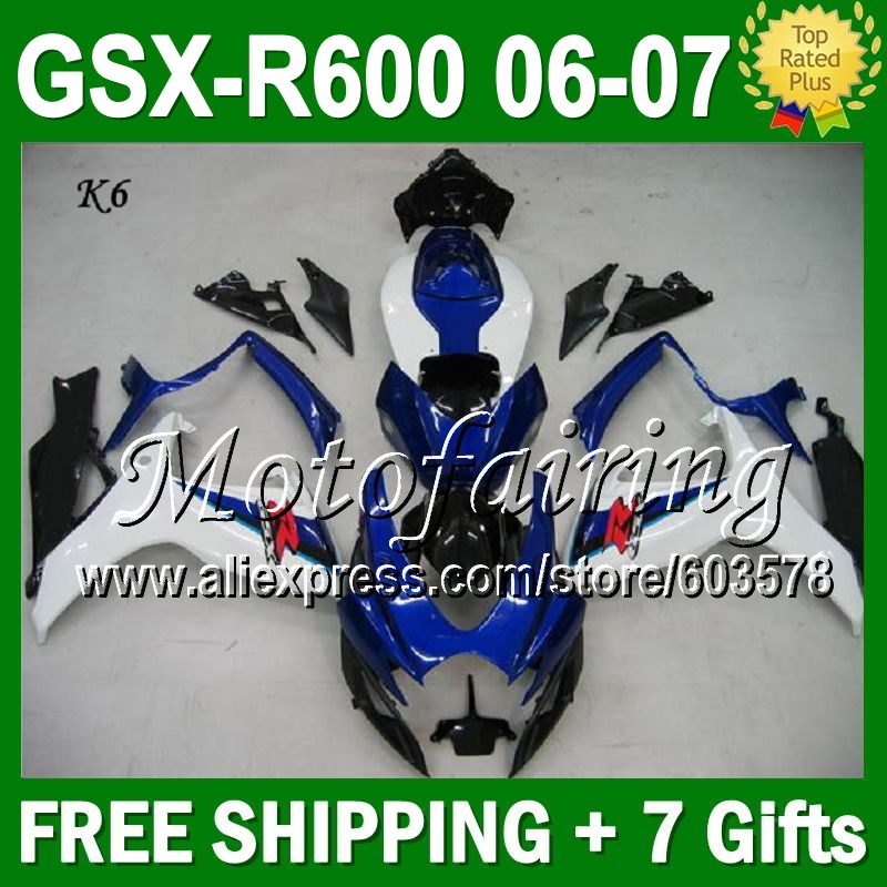 Azul 7 presentes carenagem para SUZUKI 06 07 K6 GSXR600 Hot L # 3641 azul GSXR 600 GSX-R600 carenagem Kits 2006 2007 abs-600