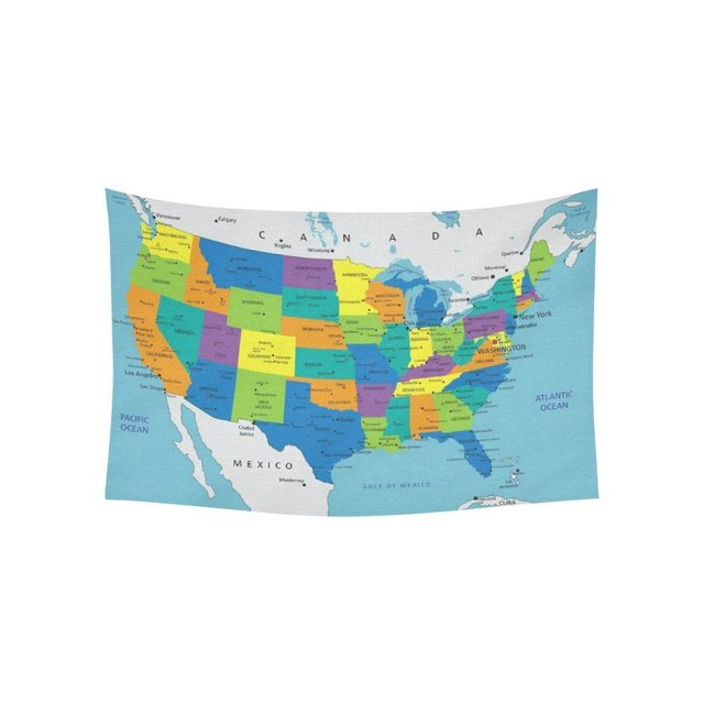 Educational Wall Art Home Decor, Colorful United States of America ...